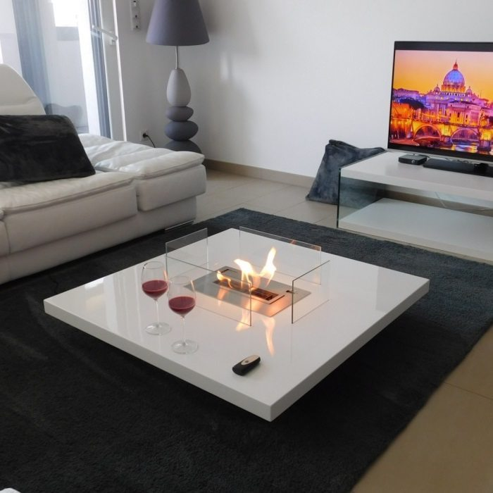 coffee table fireplace with remote ethanol burner insert lou. Black Bedroom Furniture Sets. Home Design Ideas