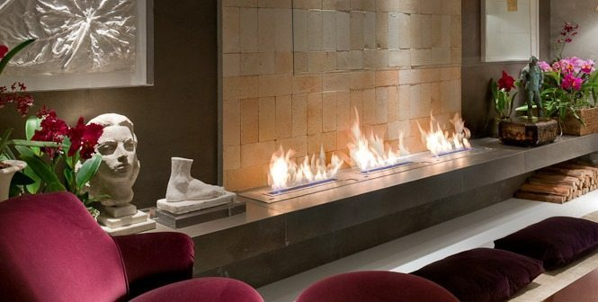 Stylish fireplace AFIRE
