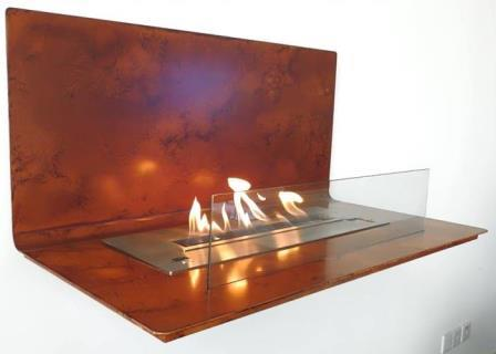 Smart bio fireplace with remote control LOFT CORTEN