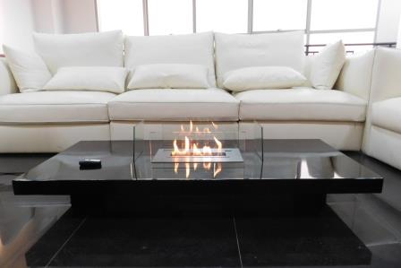 Coffee Table Fireplace with Remote Ethanol Burner Insert - LOU