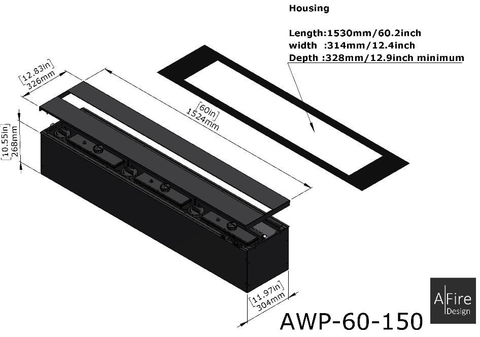 Caminetto vapore acqueo 3D incastro AWP 60-150
