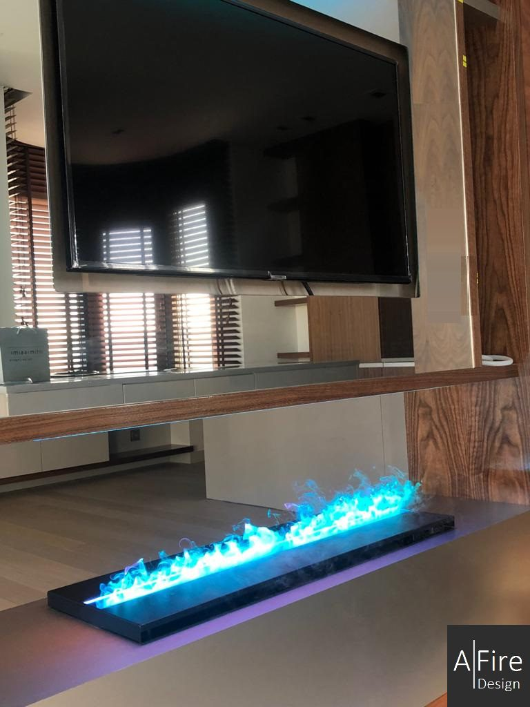 Steam fireplace with blue cold flames