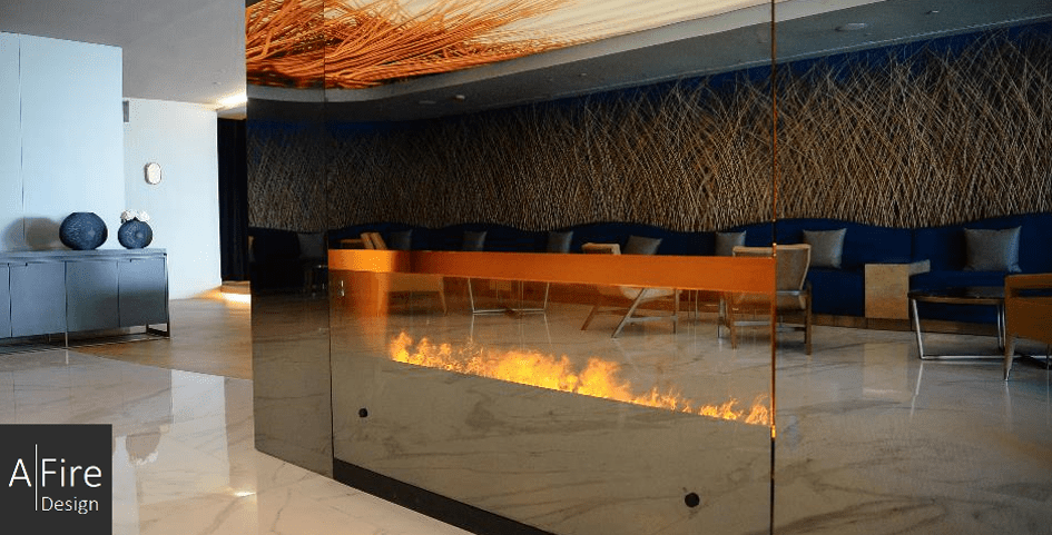 Designer electric fireplace on water vapor