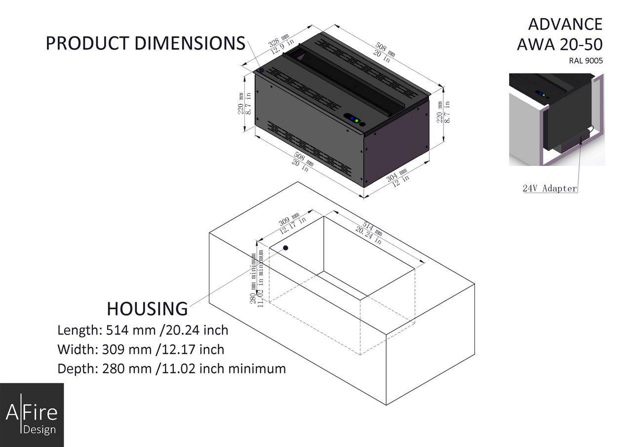 AWA 20-50 installation water vapor fireplace inserts
