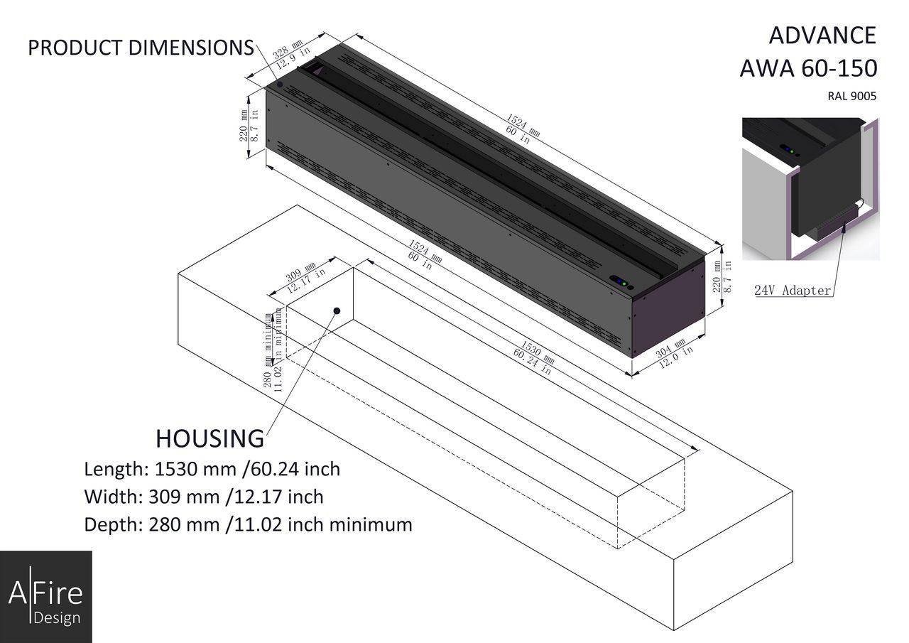 AWA 60-150 installation steam fireplace inserts