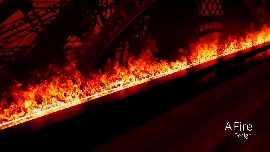 3D elektrische haard met rode vlammen
